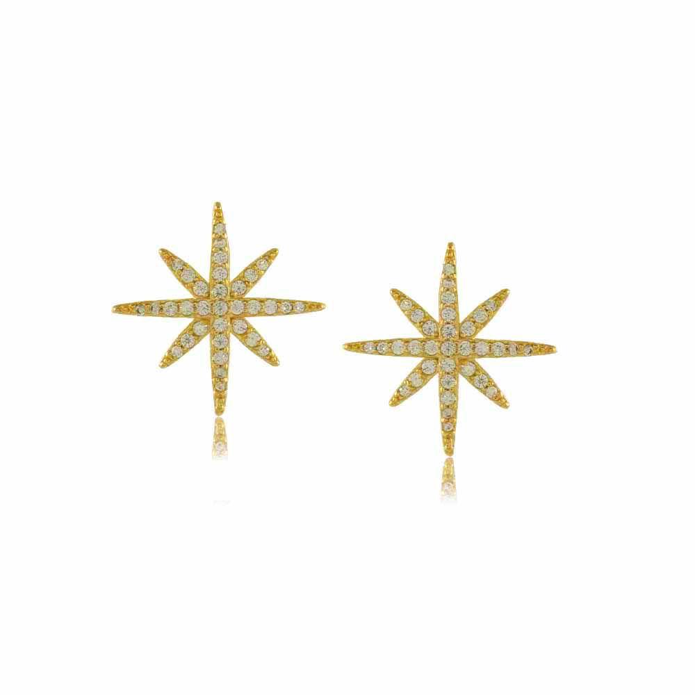 Brinco Estrela com Mini Zircônias Cravejadas Folheado a Ouro 18K