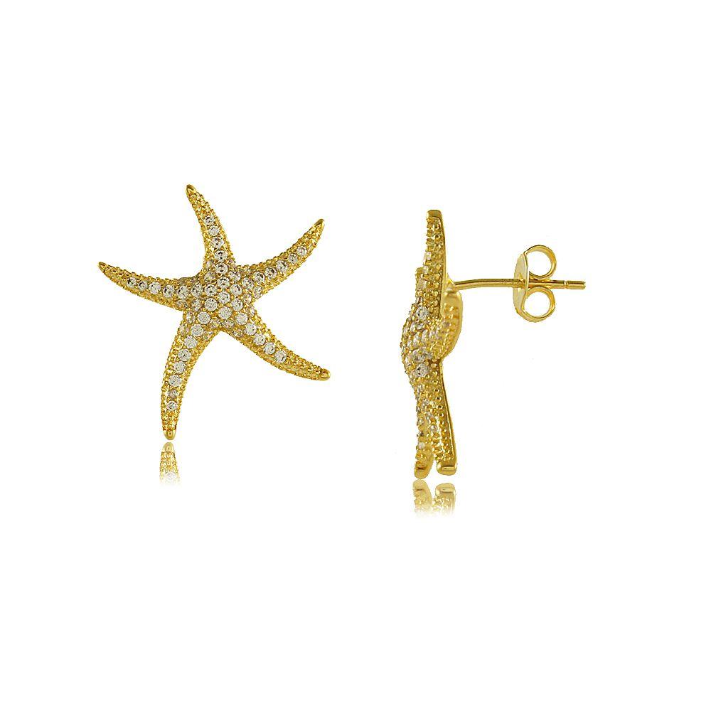 Brinco Estrela do Mar com Zircônias Cravejadas Folheado a Ouro 18K