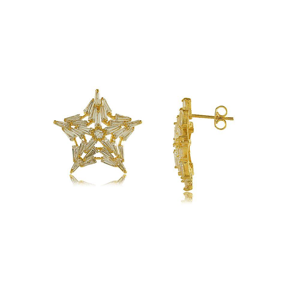 Brinco Estrela em Camadas de Zircônias Folheado a Ouro 18K