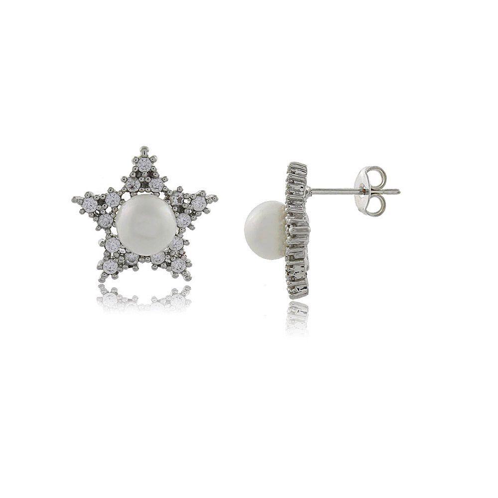 Brinco Estrela em Mini Zircônias e Pérola Folheado em Ródio