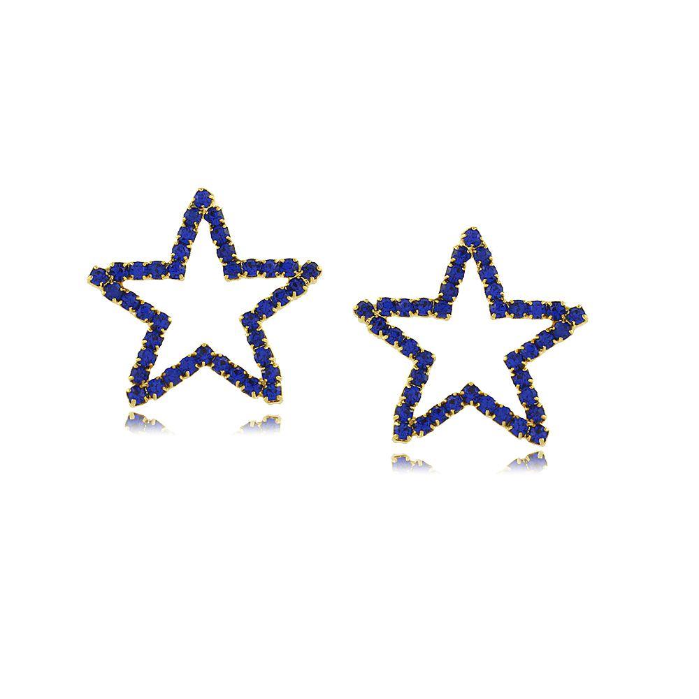 Brinco Estrela Vazada com Cristais Azuis Folheada a Ouro 18K