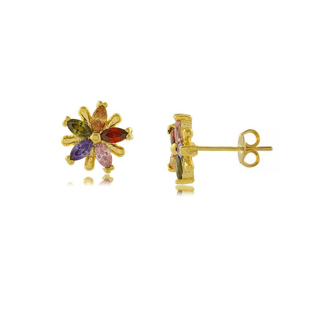 Brinco Flor com Detalhes em Zircônias Coloridas Folheado a Ouro 18K