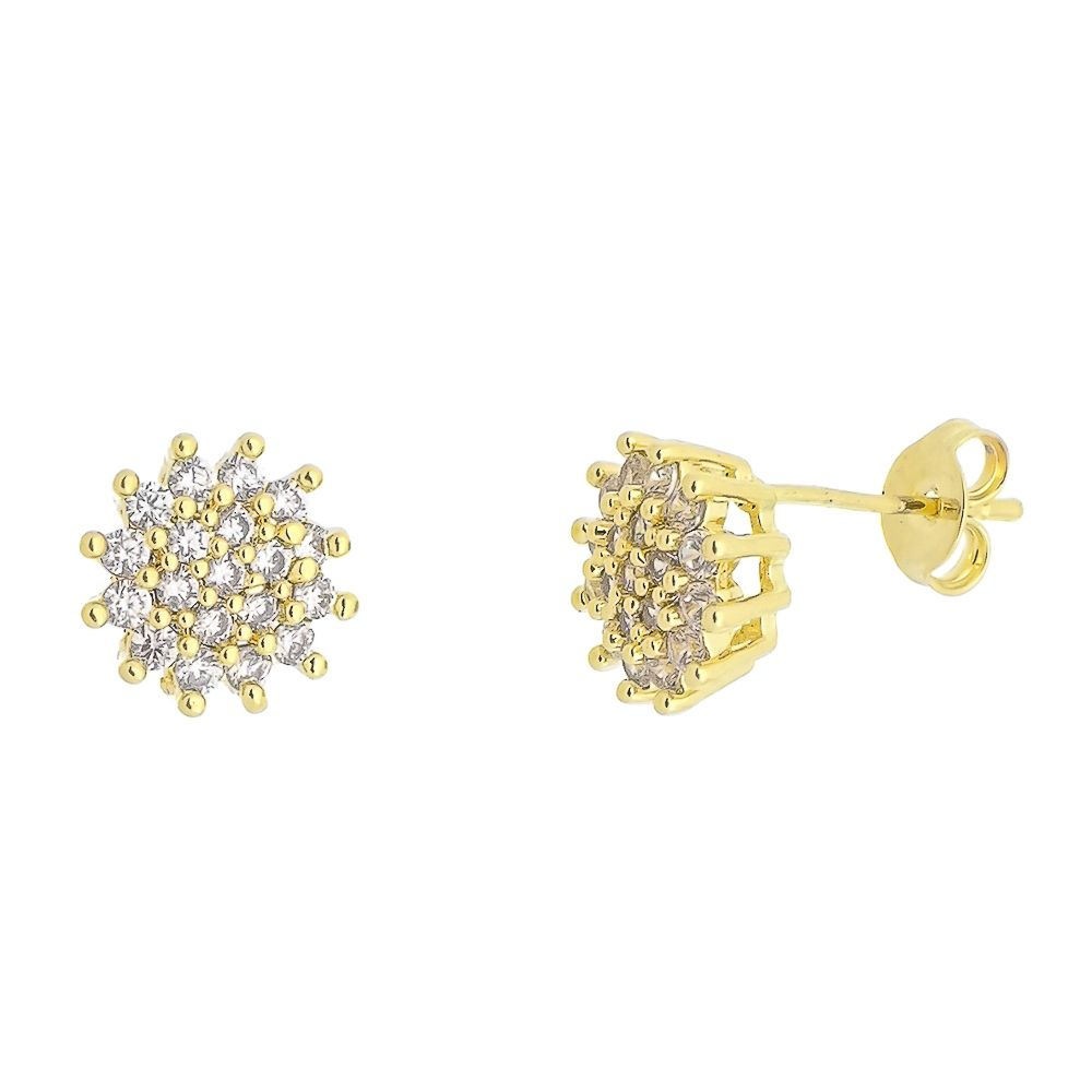 Brinco Flor com Mini Zircônias Cravejadas Folheado a Ouro 18K
