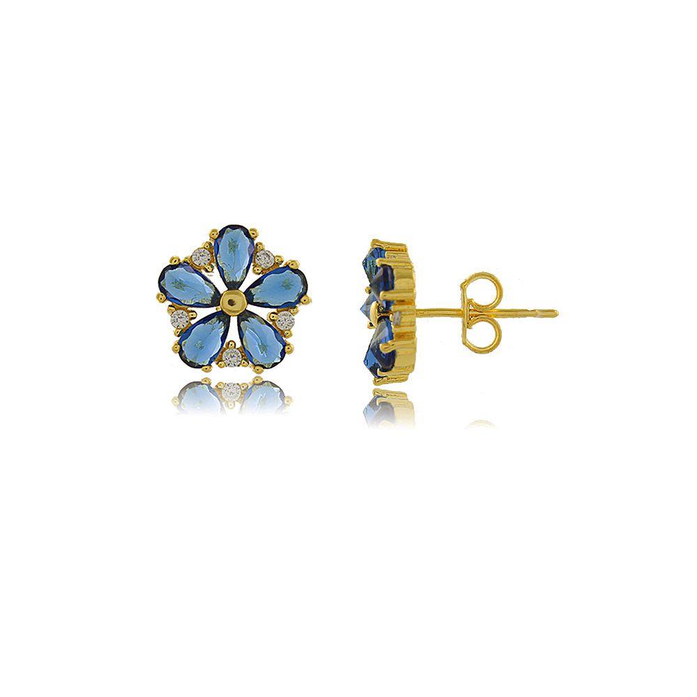 Brinco Flor com Pétalas Azuis em Zircônias Folheado a Ouro 18K
