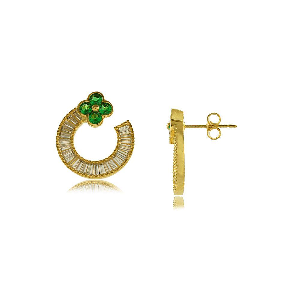 Brinco Flor com Zircônia Verde e Branca Cravejada Folheado a Ouro 18K