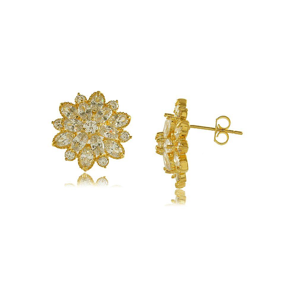 Brinco Flor em Camadas de Zircônias Cravejadas Folheado a Ouro 18K