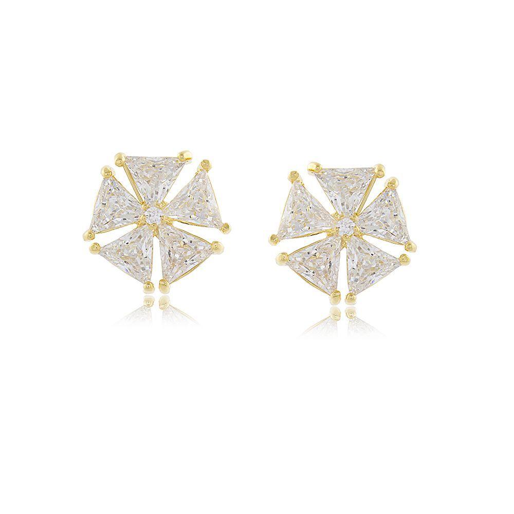 Brinco Flor Triângulos em Zircônias Folheado a Ouro 18K