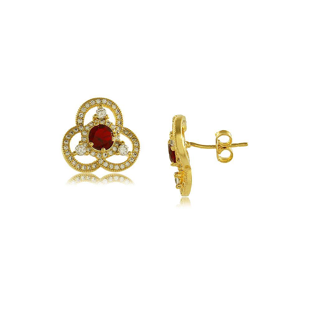 Brinco Flor Vermelha com Zircõnias Brancas Cravejadas Folheado a Ouro 18K