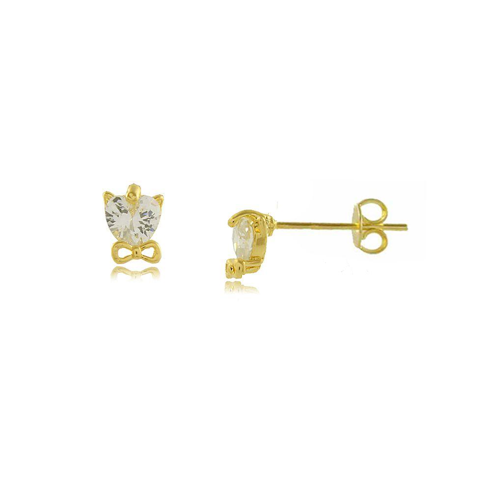 Brinco Gatinho em Zircônia com Mini Laço Folheado a Ouro 18K