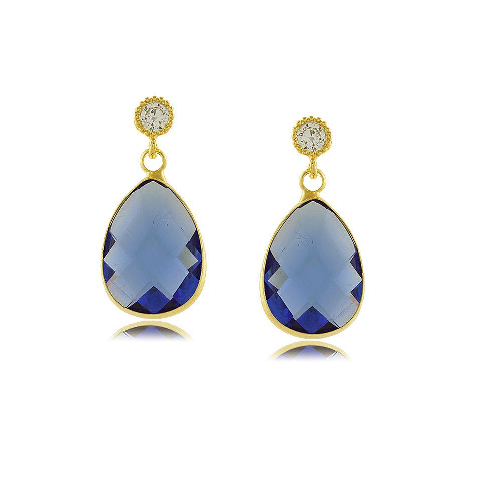 Brinco Gota com Cristal Azul Folheado a Ouro 18K