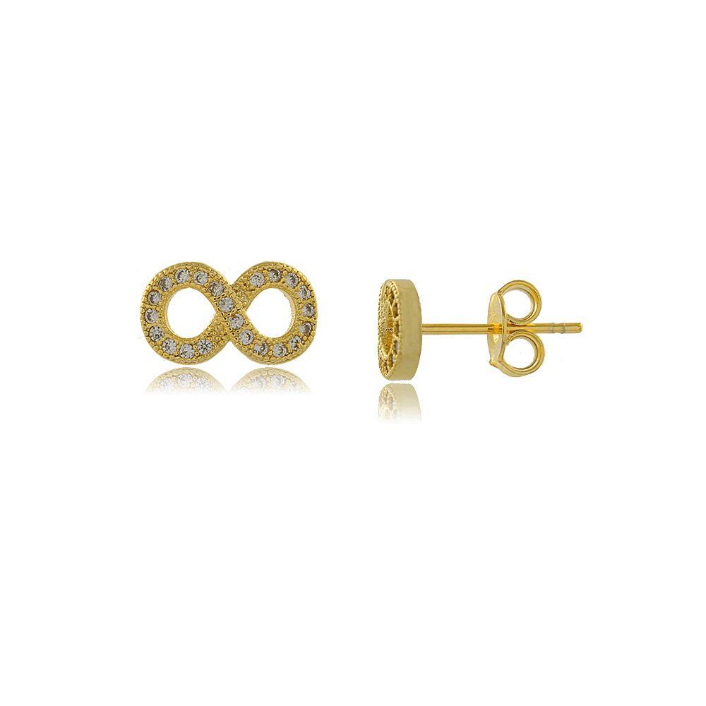 Brinco Infinito com Mini Zircônias Cravejadas Folheado a Ouro 18K