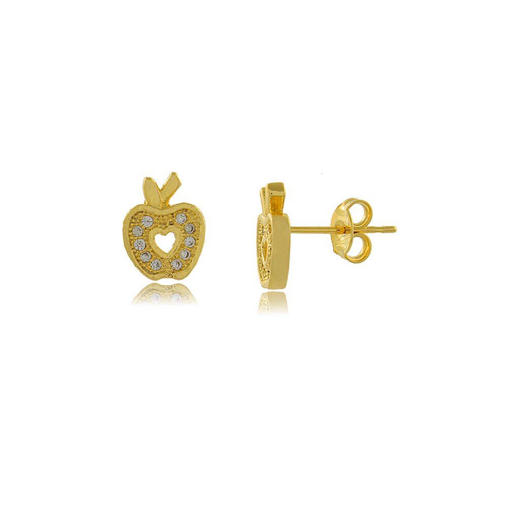 Brinco Maça com Mini Zircônias Rendadas Folheado a Ouro 18K