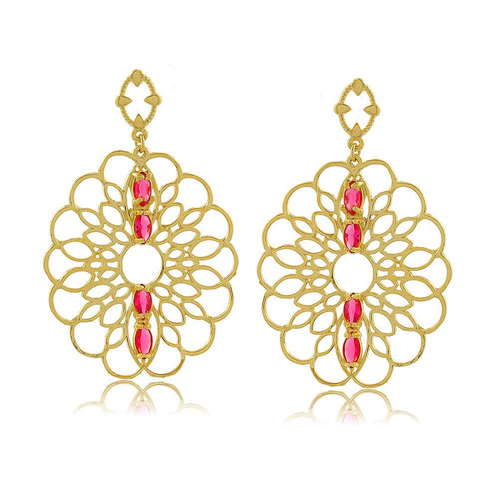 Brinco Mandala em Flor com Cristais Rosa Folheado a Ouro 18K