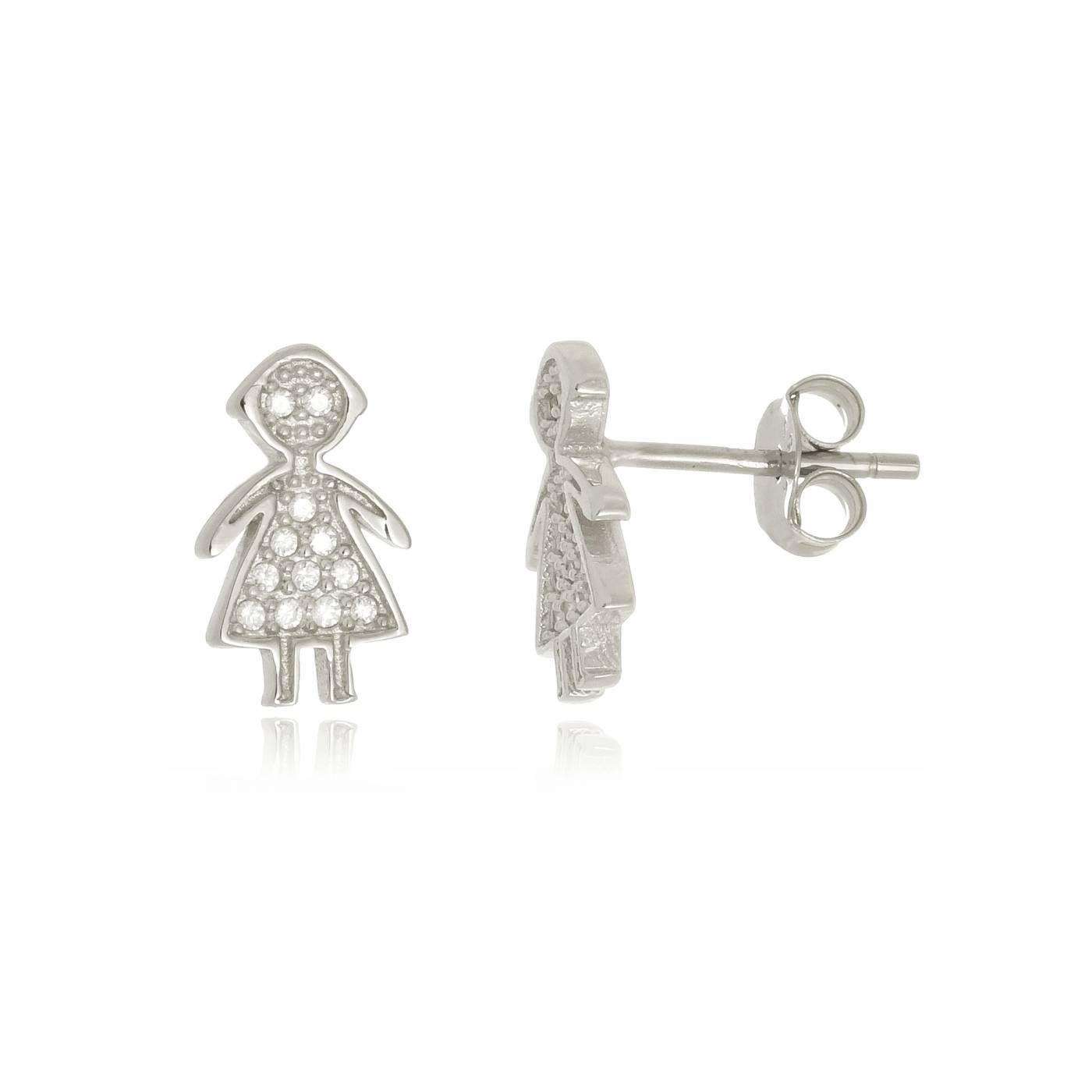 Brinco Menina com Mini Zircônias em Prata 925