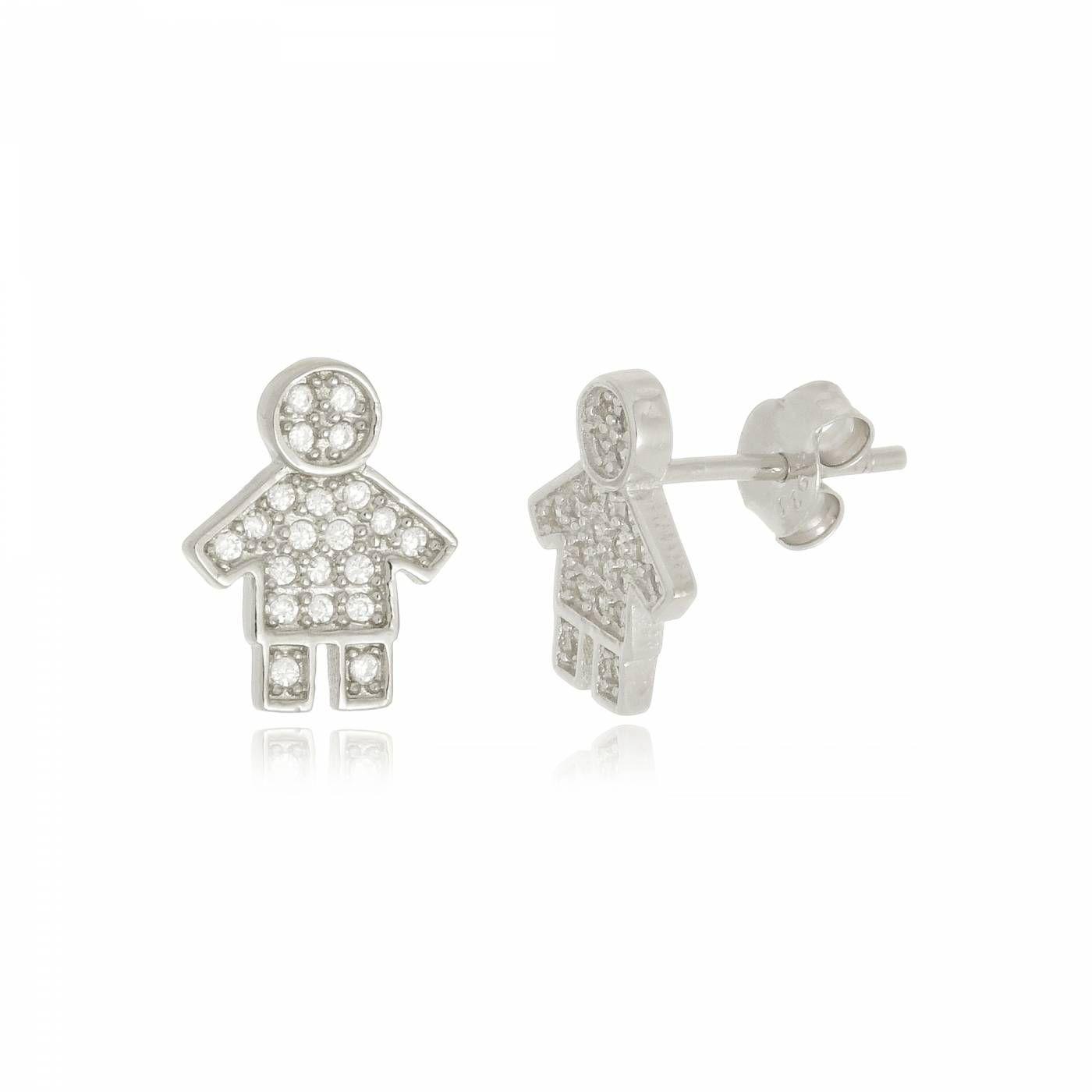 Brinco Menino Cravejado de Mini Zircônias em Prata 925