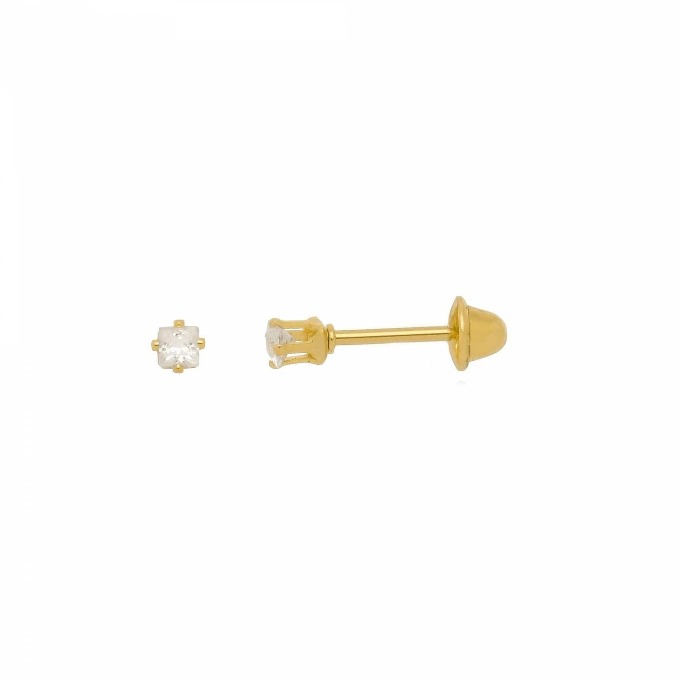 Brinco Micro Ponto de Luz Quadrado Folheado a Ouro 18K