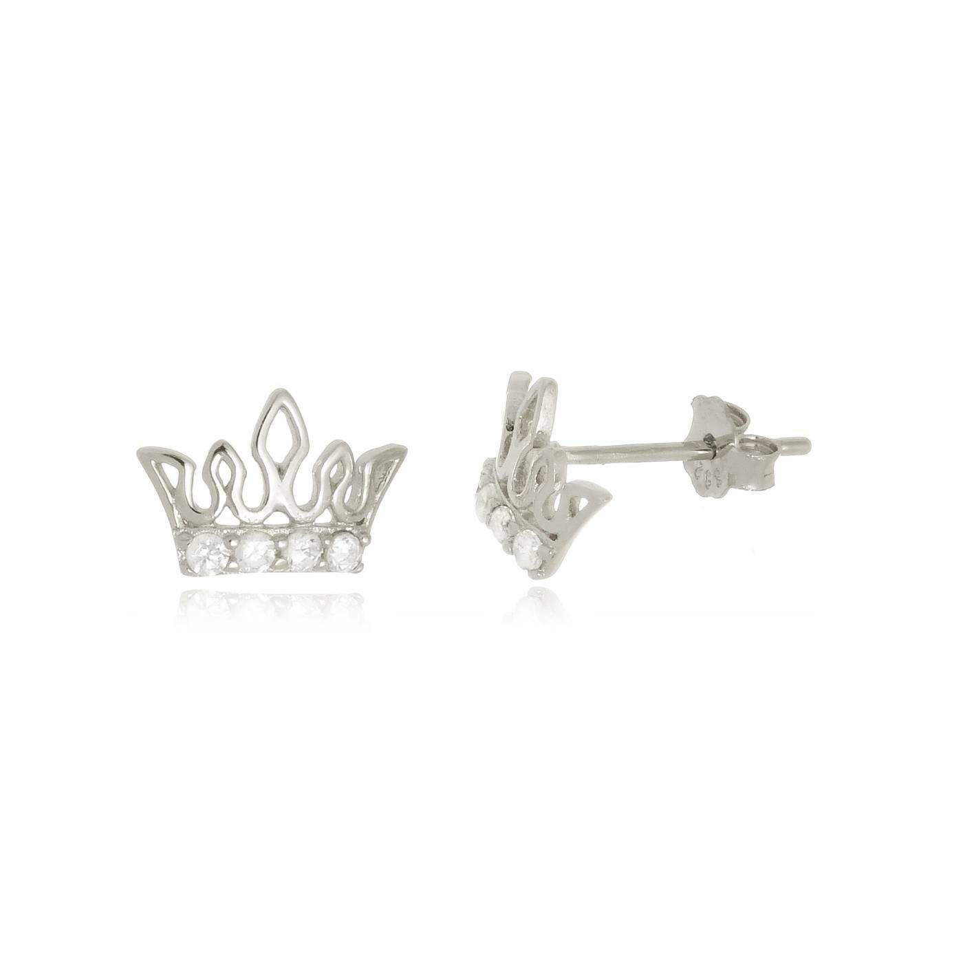 Brinco Mini Coroa com Zircônias em Prata 925