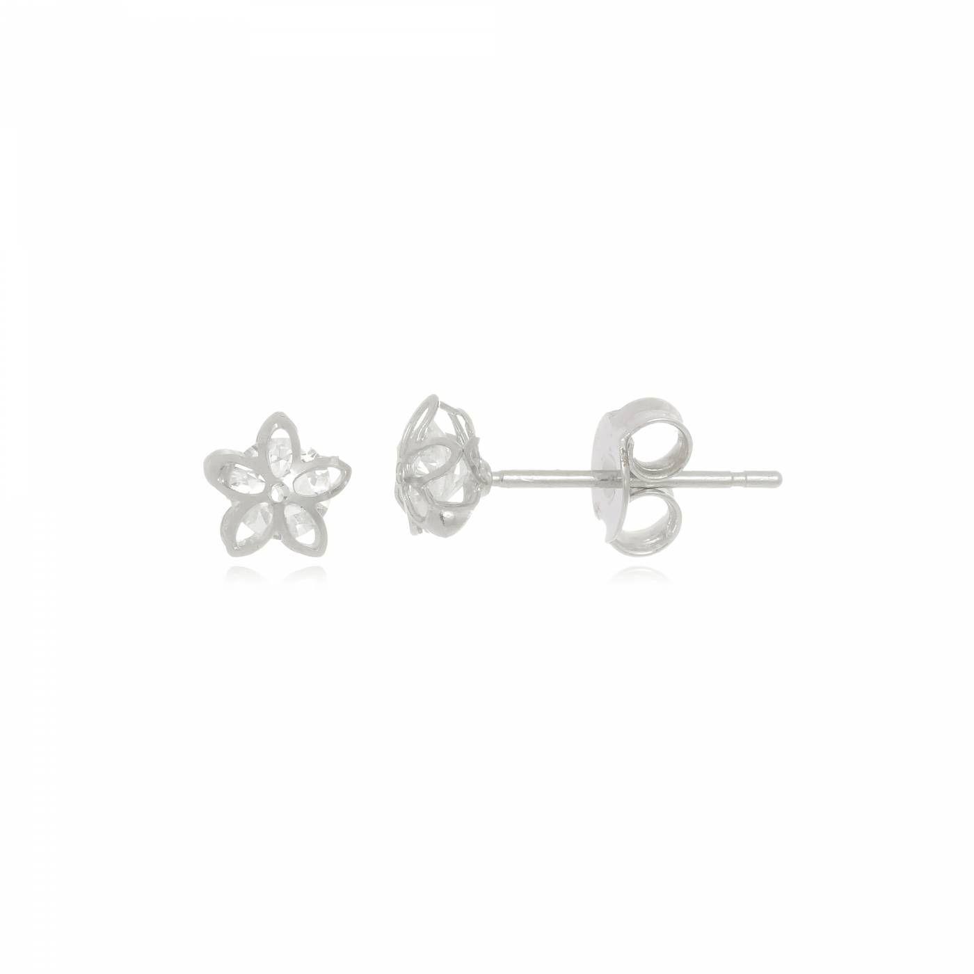 Brinco Mini Flor com Cristal Folheado em Ródio Branco