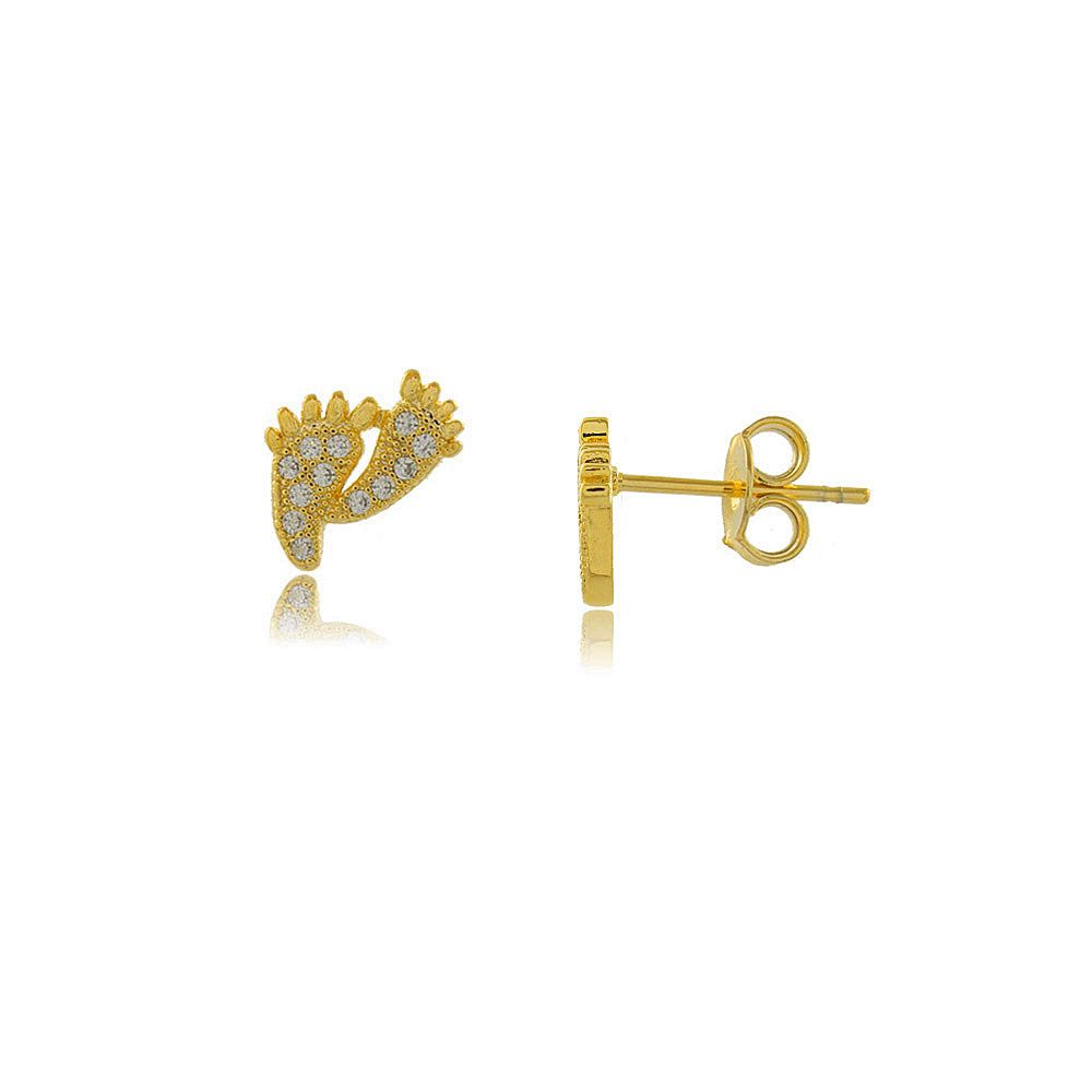 Brinco Mini Pézinhos com Zircônias Folheado a Ouro 18K