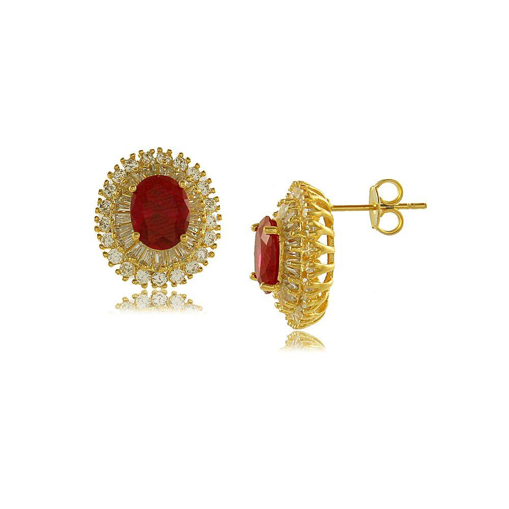 Brinco Oval com Zircônia Central Vermelha Folheado a Ouro 18K