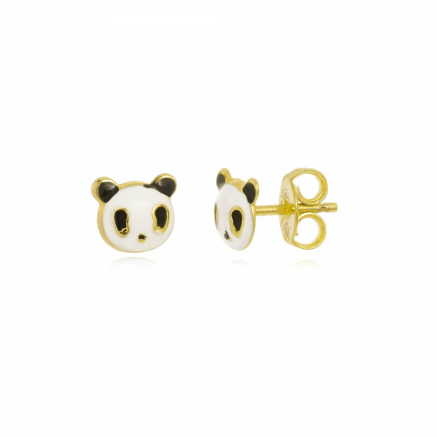 Brinco Panda em Resina Folheado a Ouro 18K