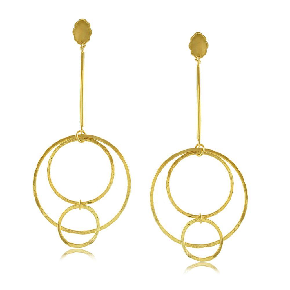 Brinco Pendulo Círculos Folheado a Ouro 18K