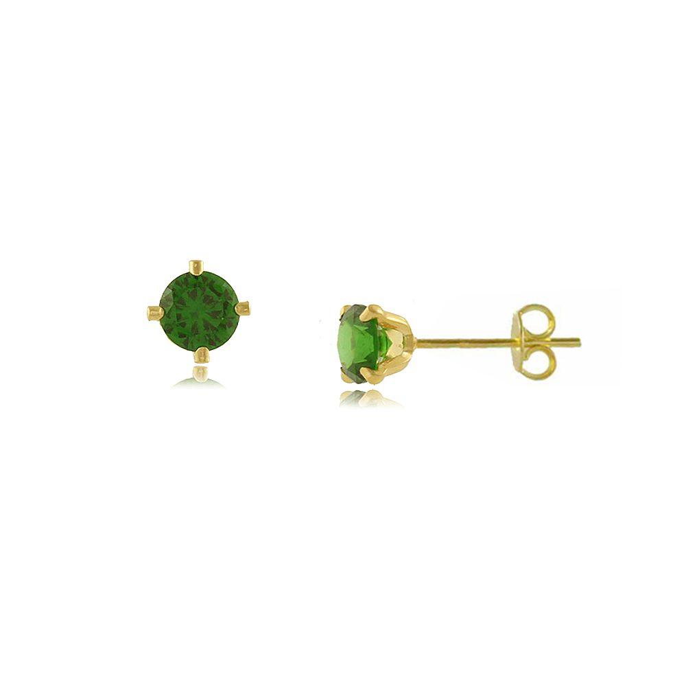 Brinco Ponto de Luz em Zircônia Verde Folheado a Ouro 18K