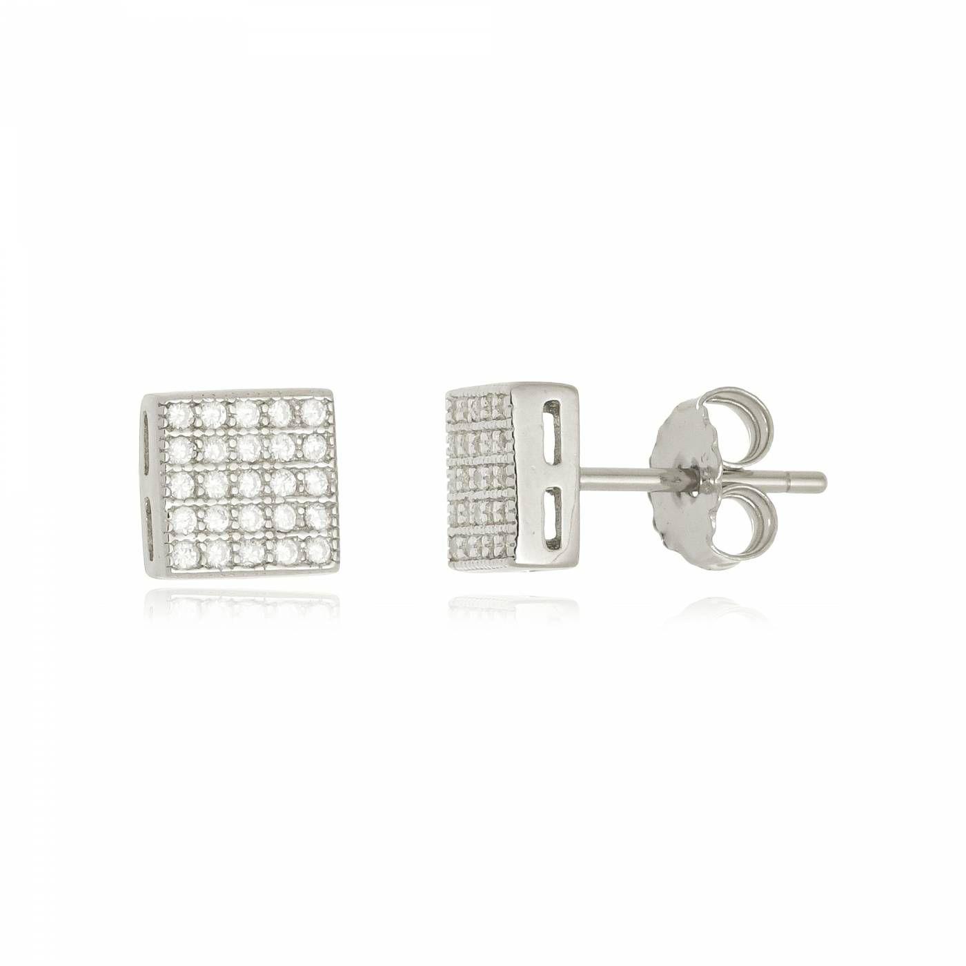 Brinco Quadrado com Mini Zircônias em Prata 925