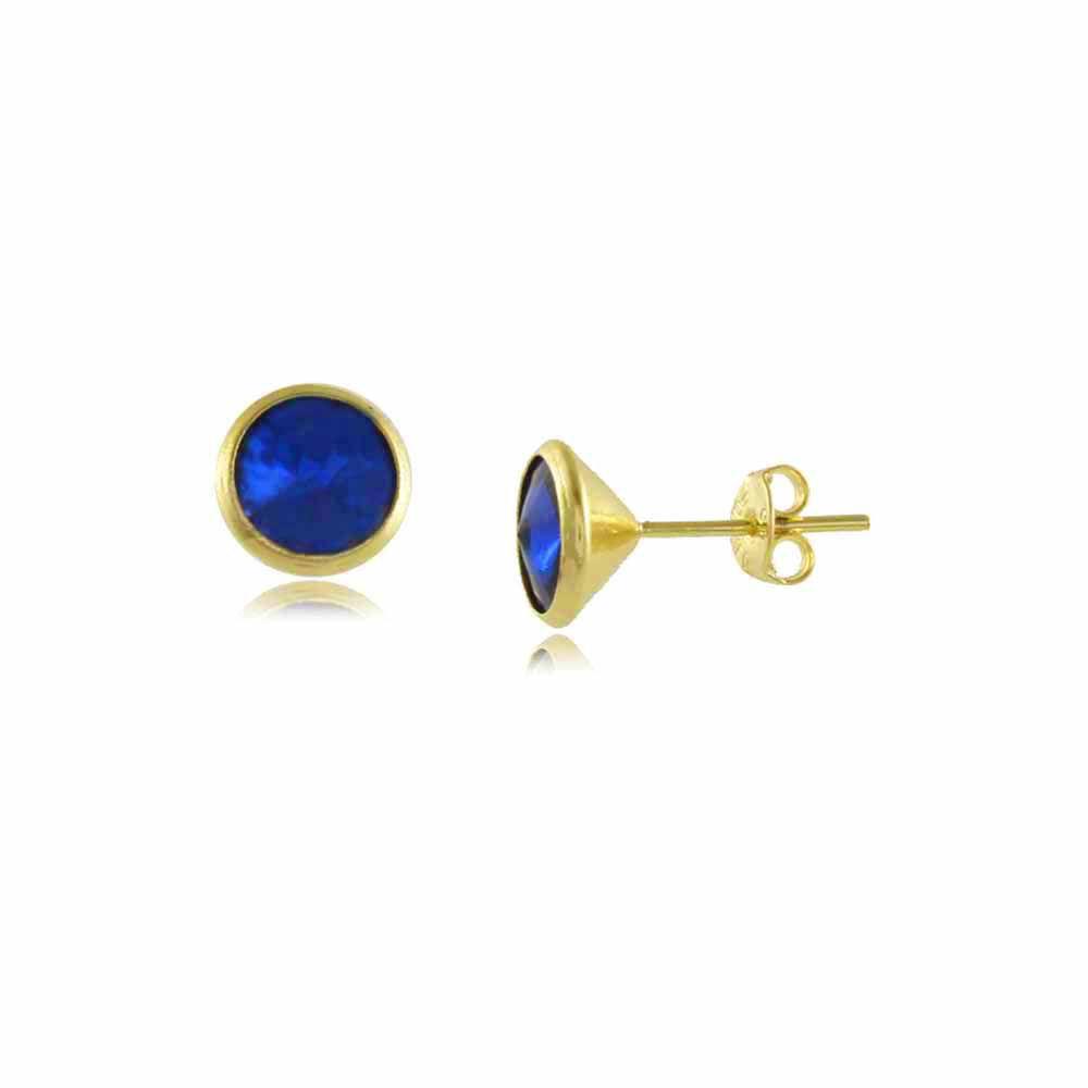 Brinco Redondo com Pedra Azul Folheado a Ouro 18K
