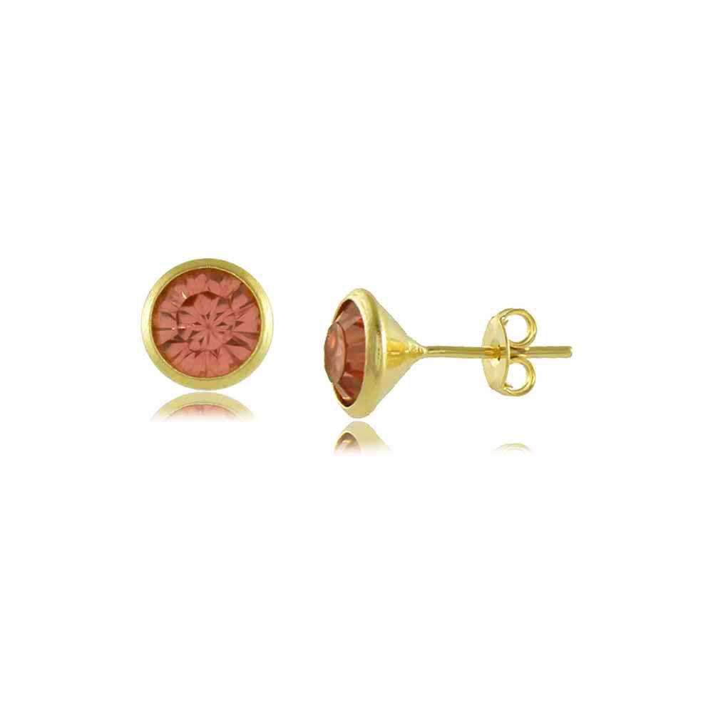 Brinco Redondo com Pedra Rose Folheado a Ouro 18K