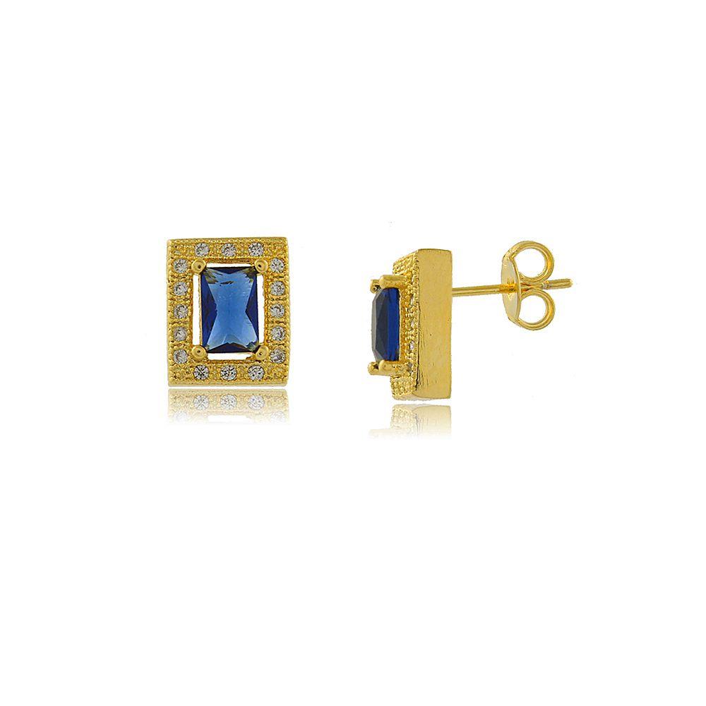 Brinco Retangular com Cristal Azul Folheado a Ouro 18K