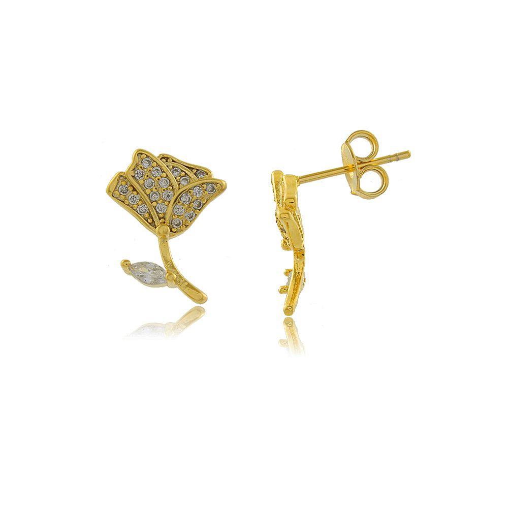 Brinco Rosa com Mini Zircônias Cravejadas Folheado a Ouro 18K