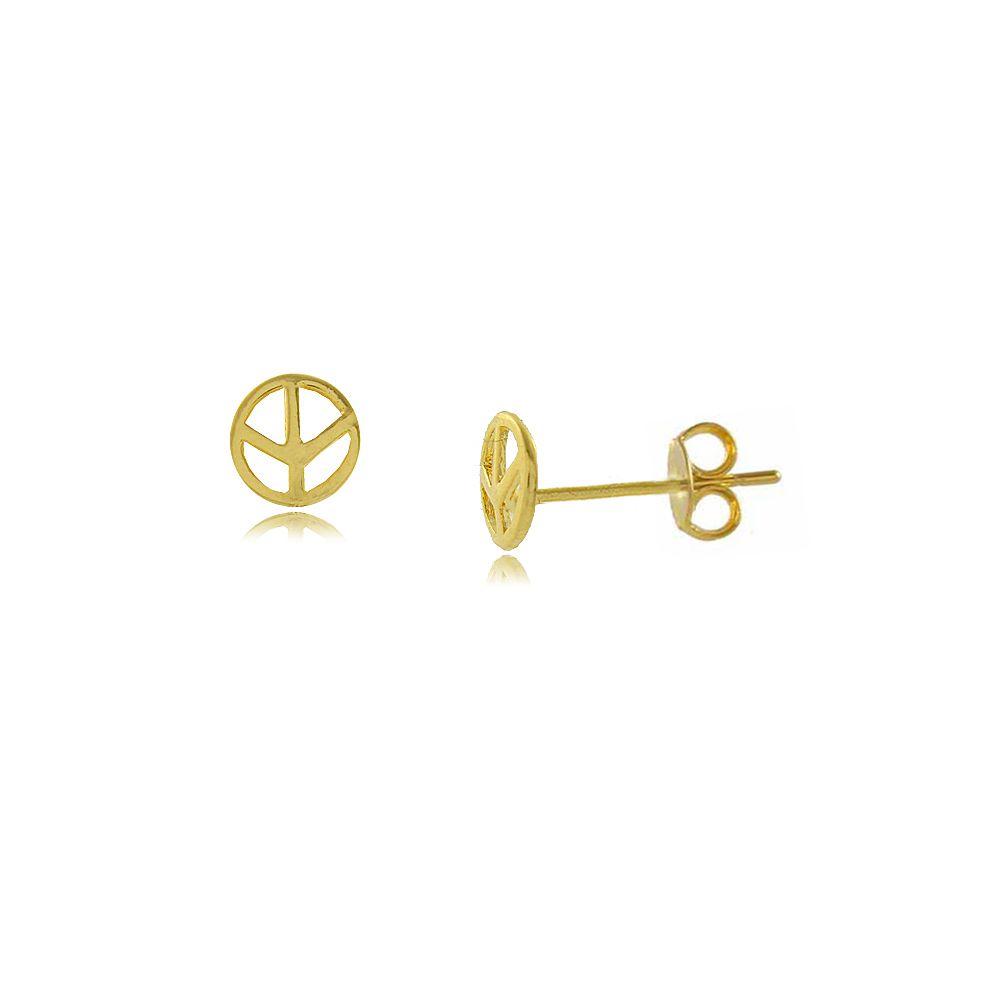 Brinco Símbolo da Paz Folheado a Ouro 18K