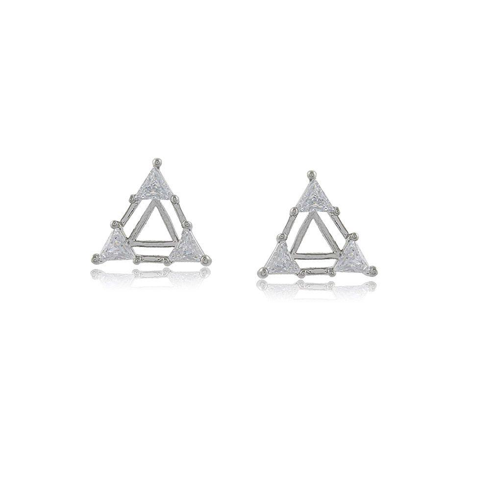 Brinco Triângulo com Detalhes em Zircônias Folheado em Ródio