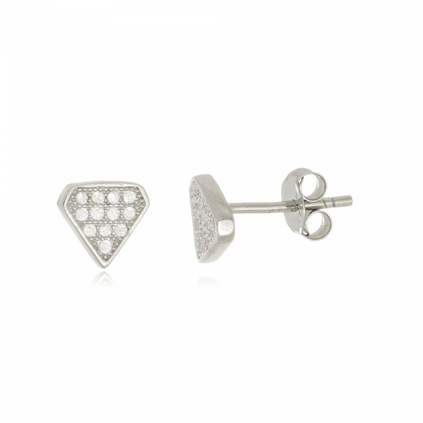 Brinco Triângulo com Mini Zircônias em Prata 925