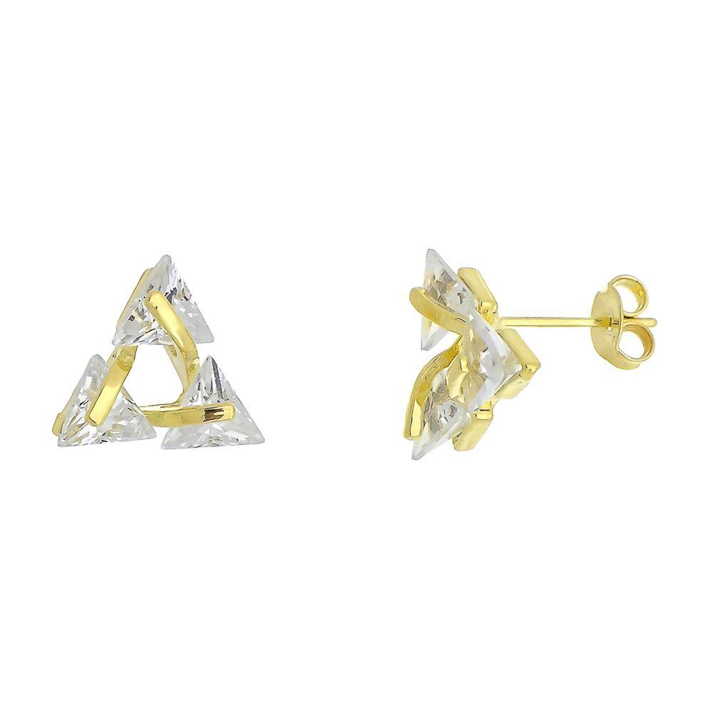 Brinco Triângulo com Zircônias Folheado a Ouro 18K