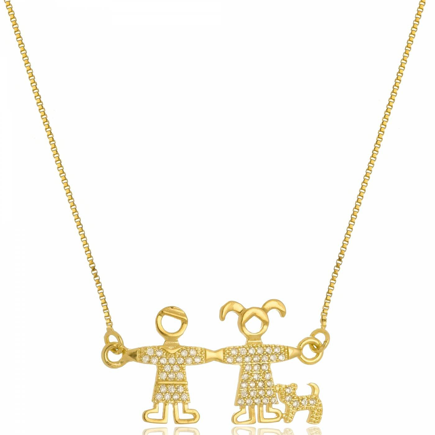 Colar Casal e Cachorro com Mini Zircônias Folheado a Ouro 18K