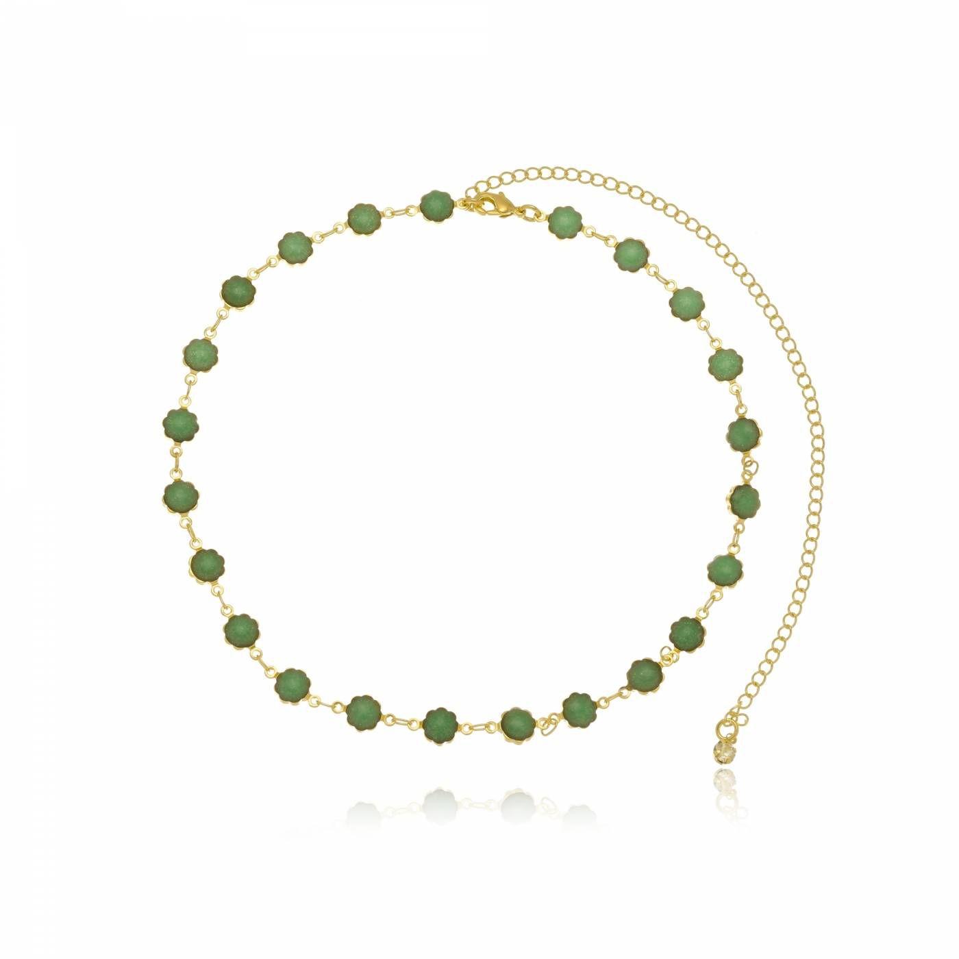 Colar Choker Flores em Resina Verde Folheado a Ouro 18K