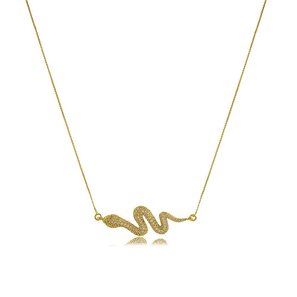Colar Cobra com Mini Zircônias Cravejadas Folheado a Ouro 18K