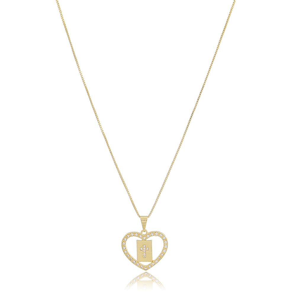 Colar coração com crucifixo folheado a ouro 18K