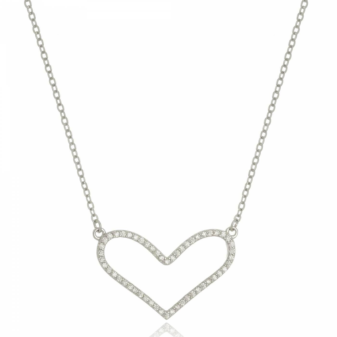 Colar Coração com Mini Zircônias Cravejadas em Prata 925