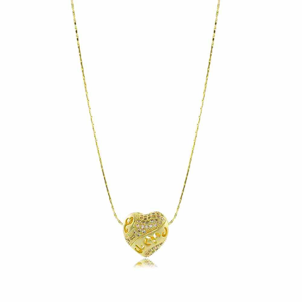 Colar Coração com Zircônias Vazados Folheado a Ouro 18K