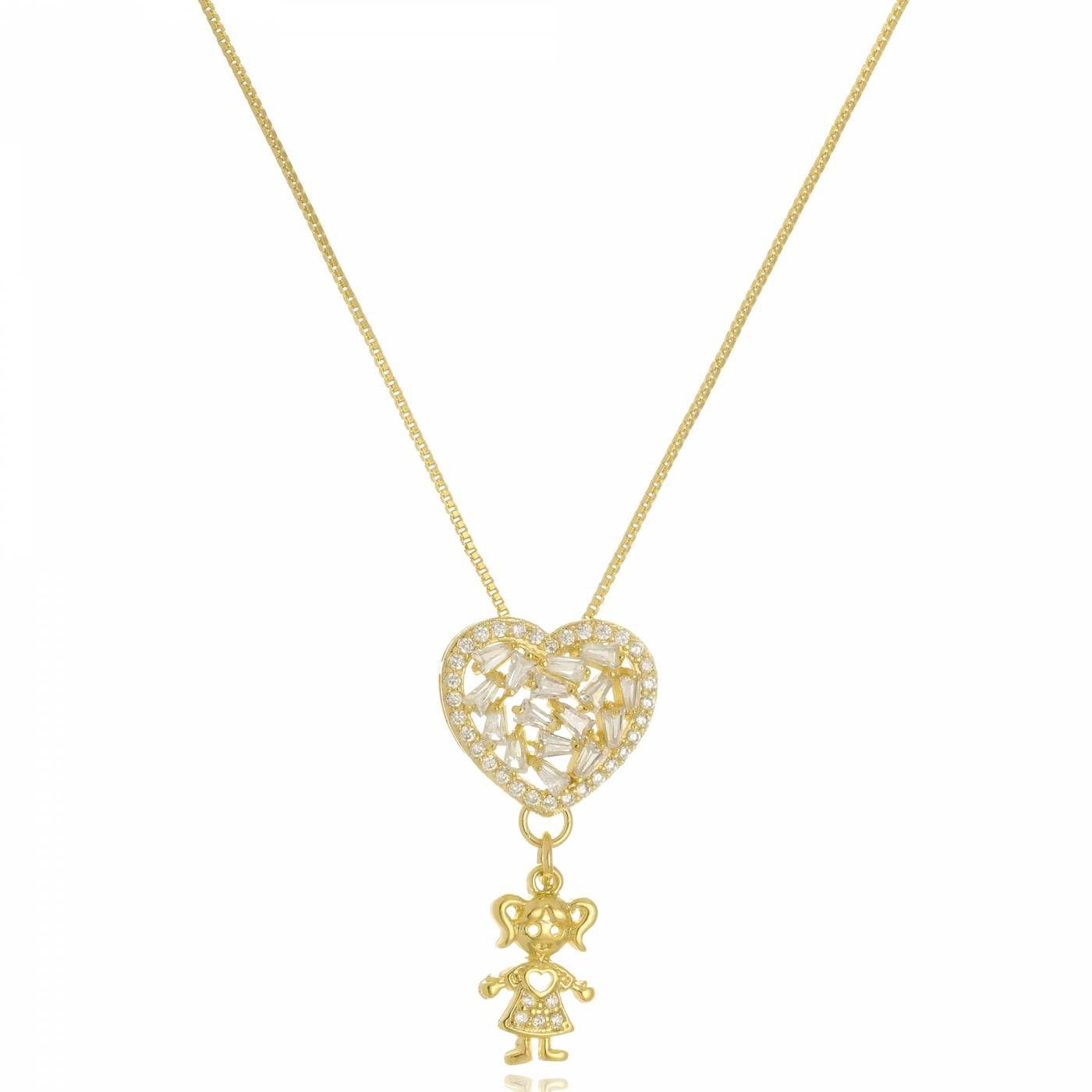 Colar Coração em Filetes Menina Folheado a Ouro 18K
