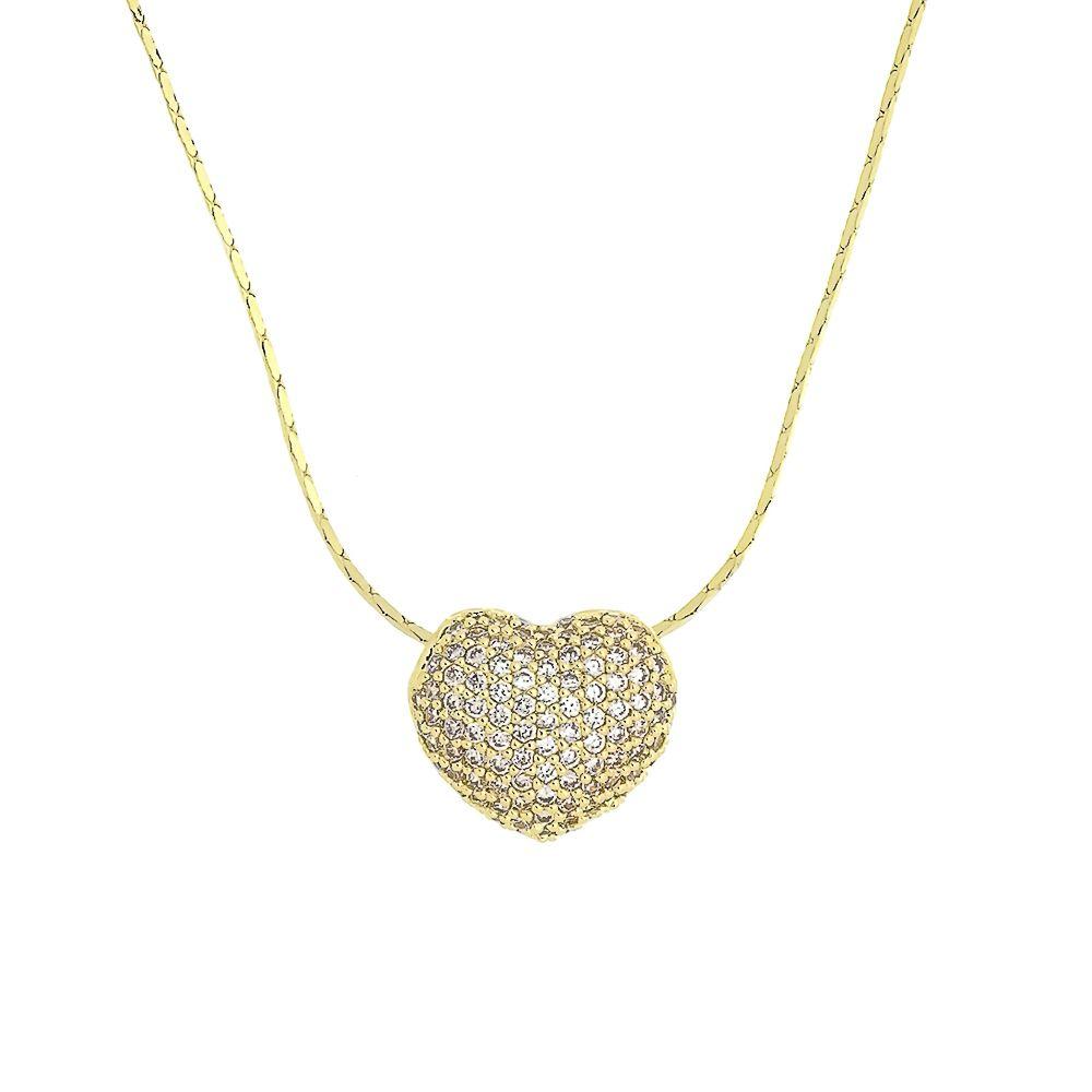 Colar Coração Pequeno com Zircônias Folheado a Ouro 18K