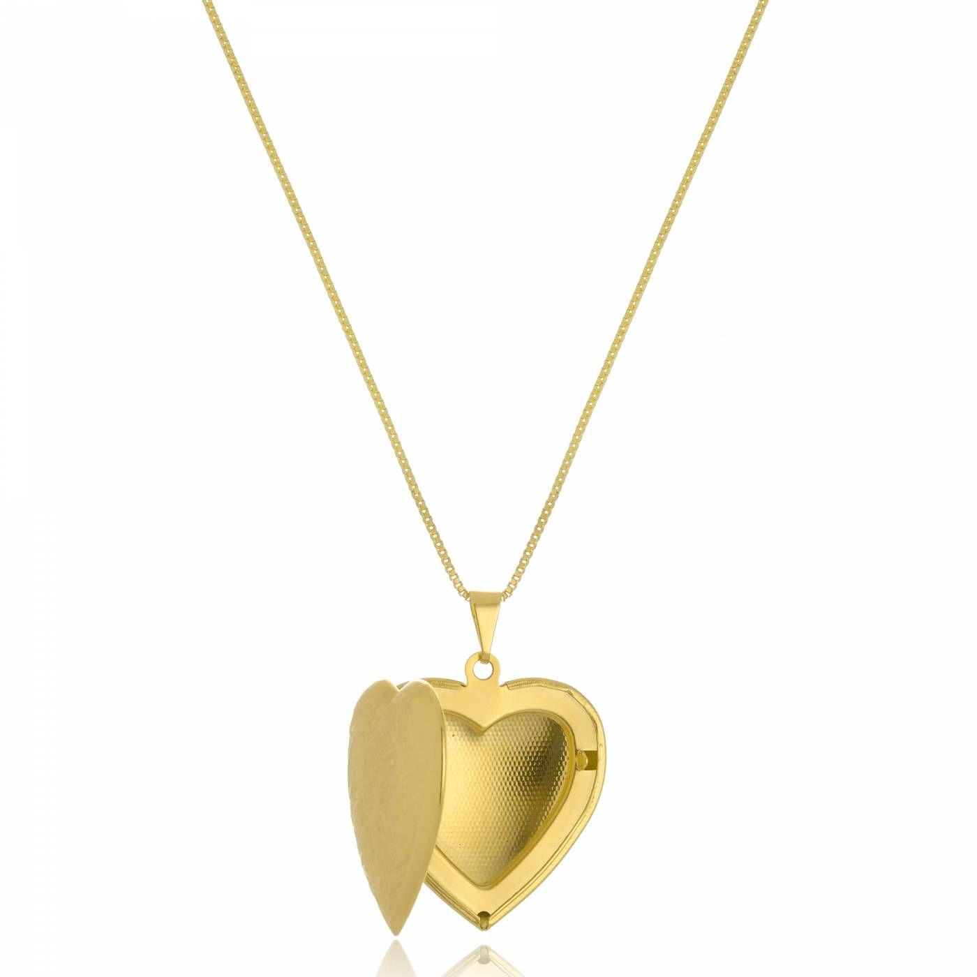 Colar Coração Relicário Grande Folheado a Ouro 18K