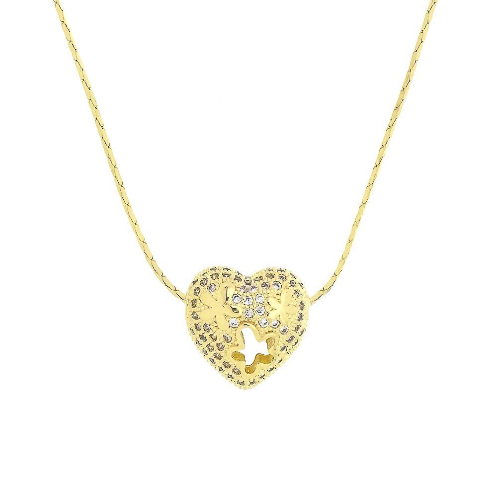 Colar Coração Vazado com Zircônias Folheado a Ouro 18K
