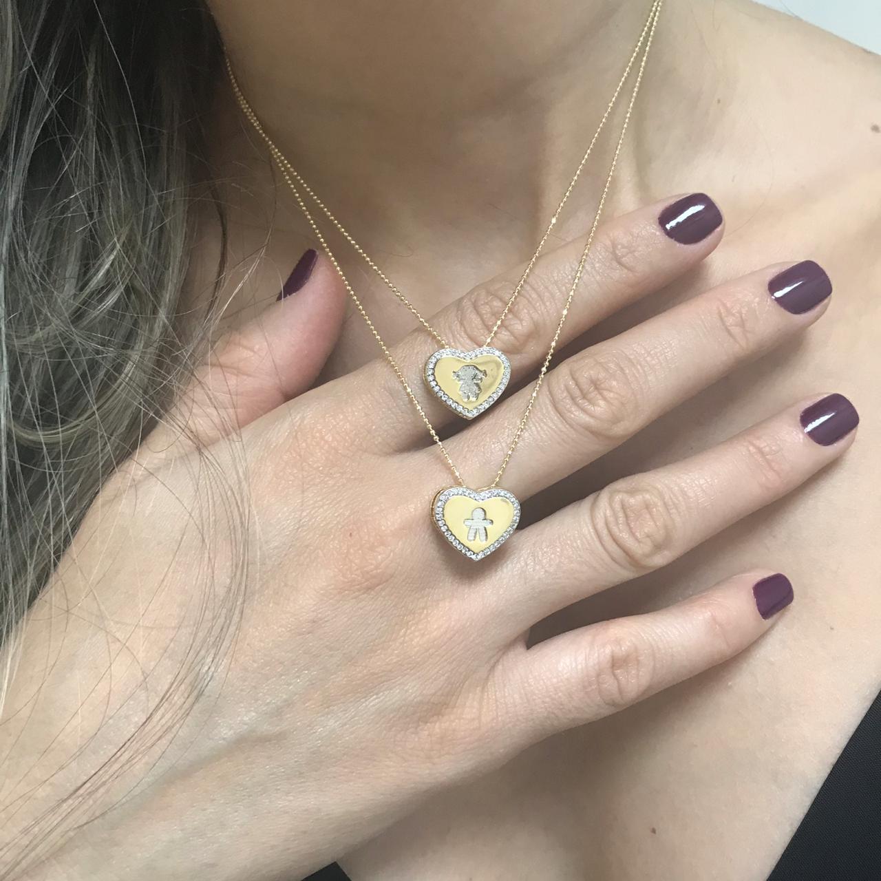 Colar Duplo Coração com Casal Folheado a Ouro 18K