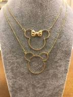 Colar Mickey ou Minnie Folheado a Ouro 18K