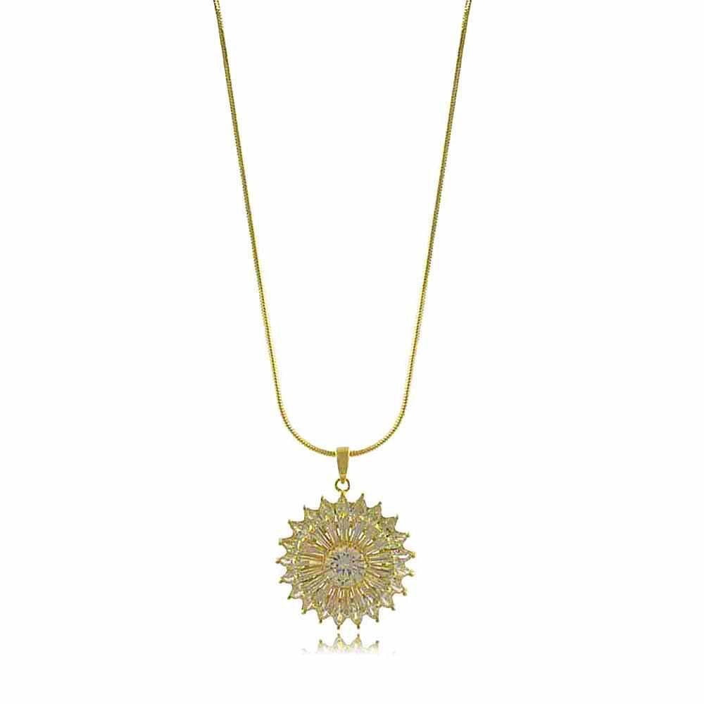 Colar Flor com Ponto de Luz e Zircônias Folheado a Ouro 18K