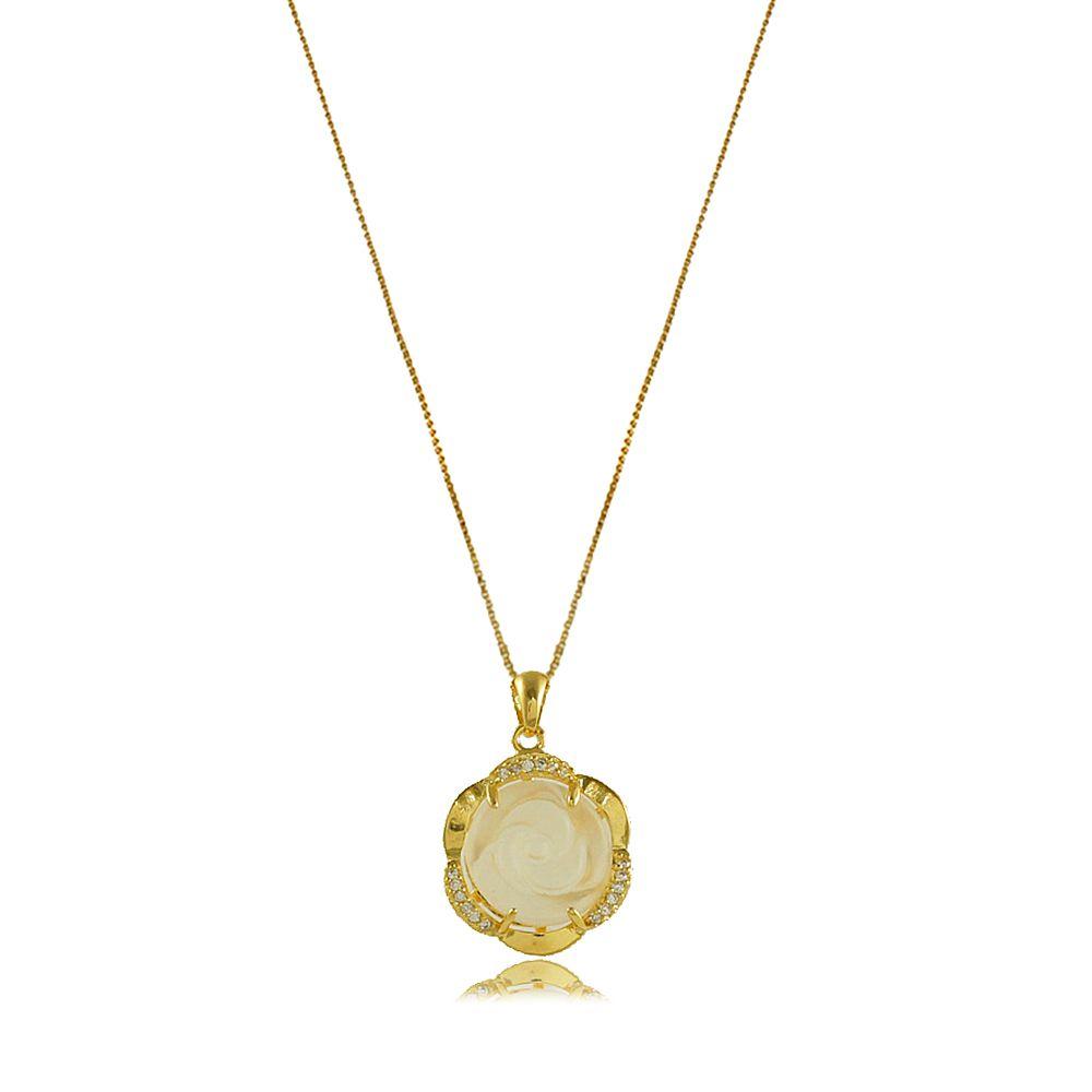 Colar Flor com Resina Transparente e Zircônia Folheado a Ouro 18K